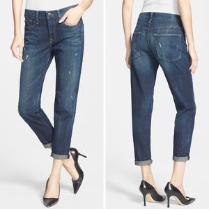 Vince Relaxed Rolled Destructed Jeans Dark Crimson